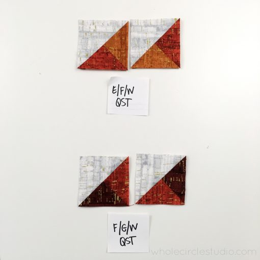 Leaf Peepers Quilt Block 3. Pattern and Quilt Along by Leah Day and Whole Circle Studio. Process shot 3