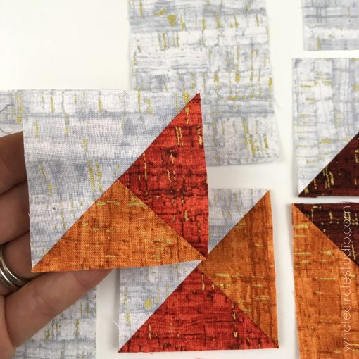 Leaf Peepers Quilt Block 3. Pattern and Quilt Along by Leah Day and Whole Circle Studio. Process shot 4