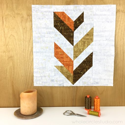 Leaf Peepers Quilt Pattern: Block 2. A modern, graphic spin on the traditional half square triangle. A great PDF pattern to use with solid fabric, prints or batiks! Pattern available at wholecirclestudio.com