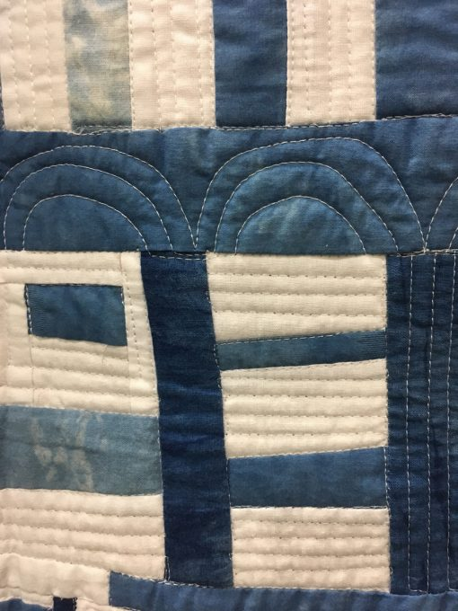 "detail of ""Clinging to the Edge"" by Irene Roderick. Category: Improvisation Modern Quilt."