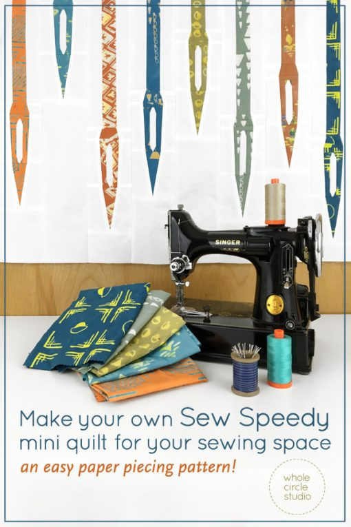 A great mini quilt to make as a wall hanging for your sewing space or gift to a sewist! Sew Speedy is a graphic wallhanging / mini quilt that features sewing machine needles and uses foundation paper piecing techniques. Make additional blocks to make a larger quilt (layout ideas are provided). Sew Speedy is pre-cut strip friendly! Use a pre-cut strip roll (with at least 31 strips), add 1⅓ yard fabric for the background of the quilt top and you can make this mini quilt top, back and binding!