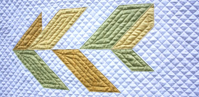 Uncorked version of Leaf Peepers Block 2 quilted on a Juki 2010Q with a walking foot. By Sheri Cifaldi-Morrill / Whole Circle Studio. Pattern: Leaf Peepers Quilt by Whole Circle Studio and Leah Day.