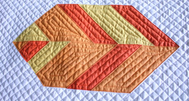 Uncorked version of Leaf Peepers Block 3 quilted on a Juki 2010Q with a walking foot. By Sheri Cifaldi-Morrill / Whole Circle Studio. Pattern: Leaf Peepers Quilt by Whole Circle Studio and Leah Day.