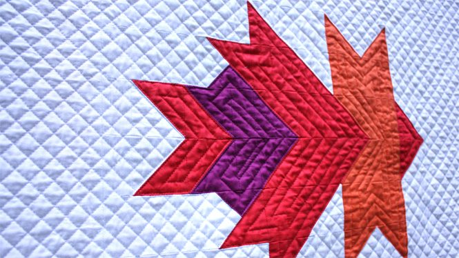 Uncorked version of Leaf Peepers Block 4 quilted on a Juki 2010Q with a walking foot. By Sheri Cifaldi-Morrill / Whole Circle Studio. Pattern: Leaf Peepers Quilt by Whole Circle Studio and Leah Day.