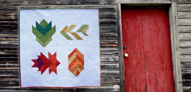 Uncorked version of Leaf Peepers mini quilt quilted on a Juki 2010Q with a walking foot. By Sheri Cifaldi-Morrill / Whole Circle Studio. Pattern: Leaf Peepers Quilt by Whole Circle Studio and Leah Day.