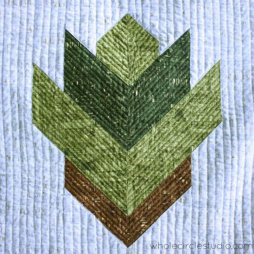 Uncorked version of Leaf Peepers Block 1 quilted on a Juki 2010Q with a walking foot. By Sheri Cifaldi-Morrill / Whole Circle Studio. Pattern: Leaf Peepers Quilt by Whole Circle Studio and Leah Day.
