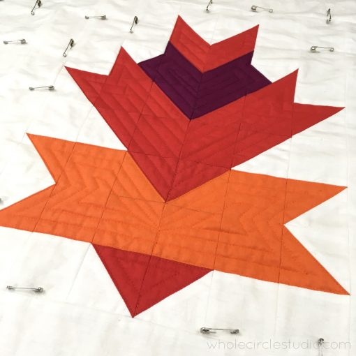 Solid version of Leaf Peepers Block 4 quilted on a Juki 2010Q with a walking foot. By Sheri Cifaldi-Morrill / Whole Circle Studio. Pattern: Leaf Peepers Quilt by Whole Circle Studio and Leah Day.