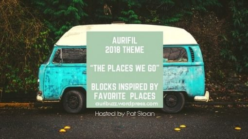 "Aurifil Block of the Month 2018: Theme: ""The Places We Go"". Blocks inspired by different places."
