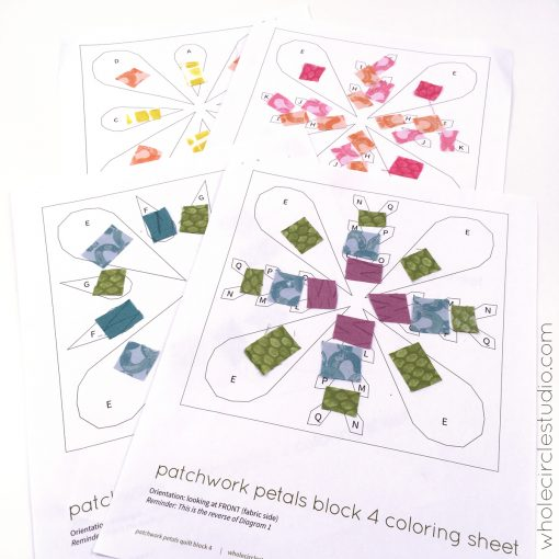 Playing with color and placement of fabrics with the Patchwork Petals Coloring Sheets (included with the pattern!)