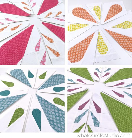 Progress while foundation paper piecing Patchwork Petals, a fun and easy quilt pattern.