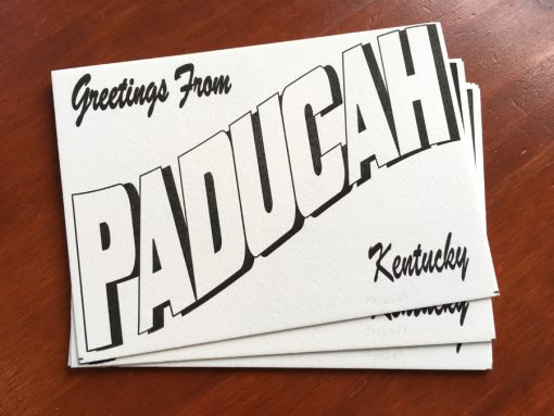 Letterpress postcards produced by Ephemera of Paducah