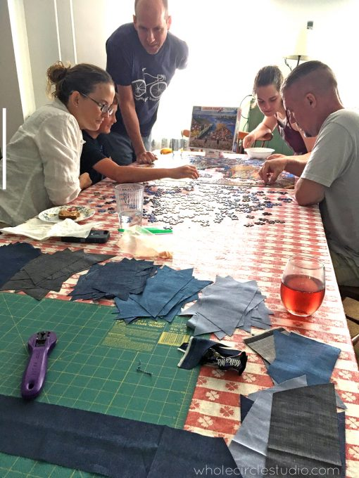 Making a quilt while on vacation on the Jersey Shore.