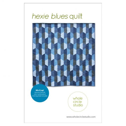 Hexie Blues is an easy, modern quilt pattern. No complicated Y-seams necessary! This super versatile pattern looks great in blues or your favorite color palette—go with a monochromatic, rainbow or even scrappy color palette. A coloring sheet is included so you can audition all types of fun combinations! Make a throw quilt (featured in pattern) or adjust the block layout to make table runners, pillows or larger quilts. You'll want to make this pattern over and over again! Pattern available at www.wholecirclestudio.com