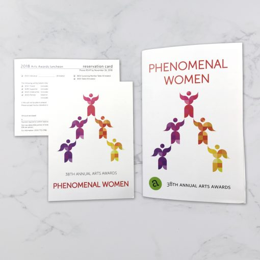 Print collateral for the Arts Council of Greater New Haven Annual Arts Awards Show. Illustration, Lift Up, designed and derived by a quilt by Sheri Cifaldi-Morrill, Whole Circle Studio. Awards theme: Phenomenal Women