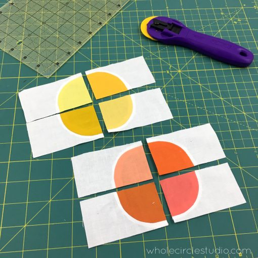 Making tiny Drunkard's Path blocks to make circles. These blocks were so tiny, I hand sewed them using English Paper Piecing techniques
