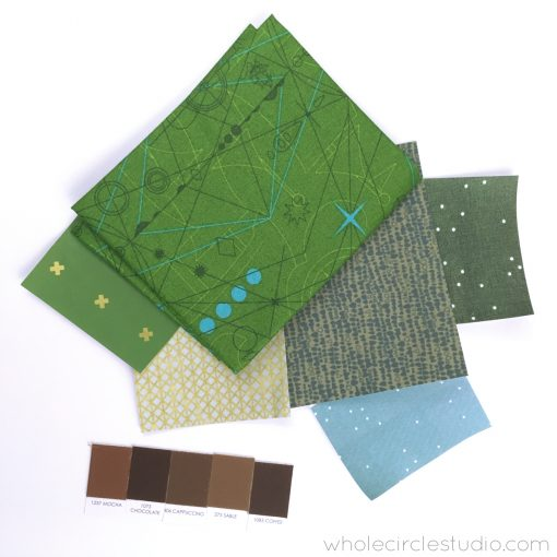 Fabric pull for Sasquatch quilt, including fabric by Alison Glass, Cotton + Steel, Carolyn Friedlander and Kona Solids.