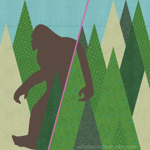 Full design schematic for Sasquatch, a modern commissioned quilt, by Sheri Cifaldi-Morrill of Whole CIrcle Studio. Machine pieced and needle turn appliqued.