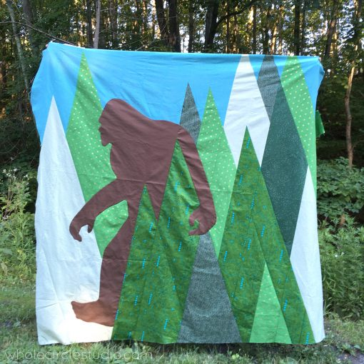 Quilt top: Sasquatch, a modern commissioned quilt, by Sheri Cifaldi-Morrill of Whole CIrcle Studio