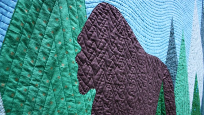 detail of Sasquatch, a modern commissioned quilt, by Sheri Cifaldi-Morrill of Whole CIrcle Studio