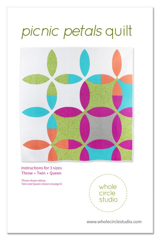 Picnic Petals quilt pattern. Picnic Petals is a modern quilt based on a traditional Flowering Snowball block. This tested pattern contains both detailed instructions and diagrams, making it easy to piece. Instructions are provided for three sizes: Throw, Twin and Queen.