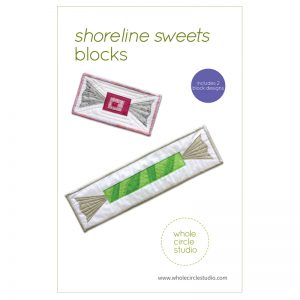 Shoreline Sweets are easy, quick blocks to make in an afternoon. Included in this foundation paper piecing pattern are two block designs(finished size: 18″ x 4.5″ and 4.5″ x 9″). Approximate fabric requirements are included but this is also a great pattern to use up your scraps! Pattern by Whole Circle Studio.