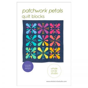 Patchwork Petals are fun, modern quilt blocks that make cute pillows, placemats and minis for quilt swaps. Make additional blocks to construct a table runner, wall hanging, throw or large quilt (layout ideas included in the pattern). Mix and match blocks! Need a handmade housewarming or hostess gift? This is the perfect pattern! You'll enjoy making these fully-tested, foundation paper pieced blocks. This pattern is fabric stash friendly! Scraps, fat eighths and fat quarters work great for the petal portions of this pattern. Use prints, solids and/or fussy-cut your favorite fabric for the petals. Pattern by Whole Circle Studio.