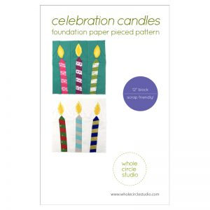 Celebration Candles is an easy, quick block to make in an afternoon. This is the perfect quilt project to make for birthday or holiday celebrations. Included in this foundation paper piecing pattern are 3 designs (one candle leaning to left, one candle leaning to right, one candle upright). This is also a great pattern to use up your scraps! These blocks are the perfect size for a mini quilt, table quilt or pillow. Make multiple blocks to make a table runner or larger quilt. Pattern by Whole Circle Studio.