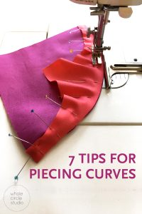 Get 7 tips for piecing curves for your next quilt! Anyone can piece curves like flowering snowball or drunkard's path. Get lots of tips and tricks and get sewing!