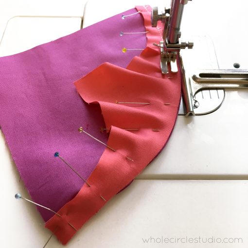 "Use a 1/4"" presser foot or seam guide set to 1/4"" to get the perfect seam allowance when piecing curves for your quilt."