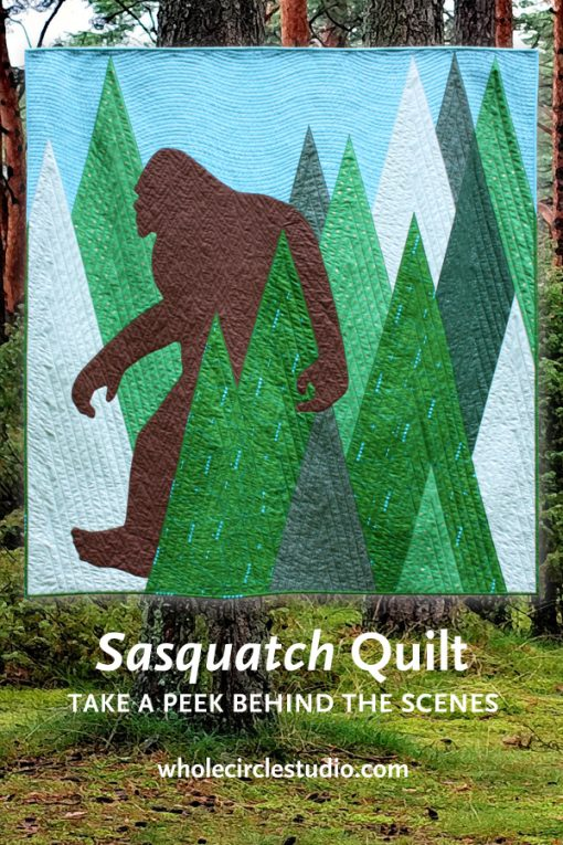 This past summer, I completed a special commissioned modern quilt project, entitled Sasquatch, based on Bigfoot, the Six Million Dollar Man and Steve Austin. Head on over to my blog to read all about the meaning and process. Designed and made by Sheri Cifaldi-Morrill of Whole Circle Studio.