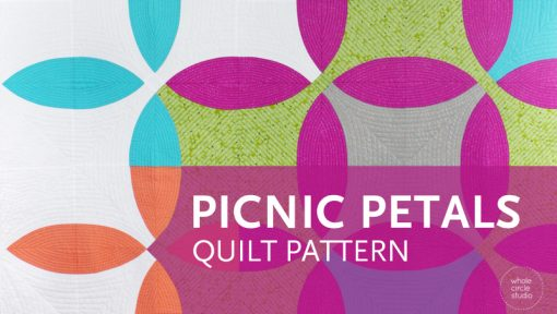 Picnic Petals is a modern quilt based on a traditional Flowering Snowball block. This tested pattern contains both detailed instructions and diagrams, making it easy to piece. Instructions are provided for three sizes: Throw, Twin and Queen. Designed by and available at wholecirclestudio.com