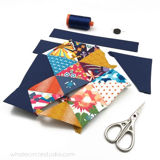 English Paper Piecing with Aura, designed by Mathew Boudreaux for Art Gallery Fabrics.