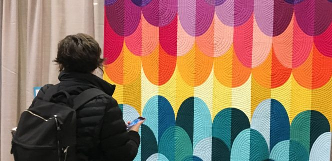 A curated collection of twenty modern quilts from QuiltCon 2019, with descriptions from the quilters, shown in Nashville, Tennessee .
