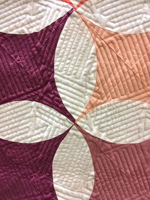 """detail of """"Shades of Citrus"""" by Brittany Lloyd. Quilted by Jess Ziegler"""