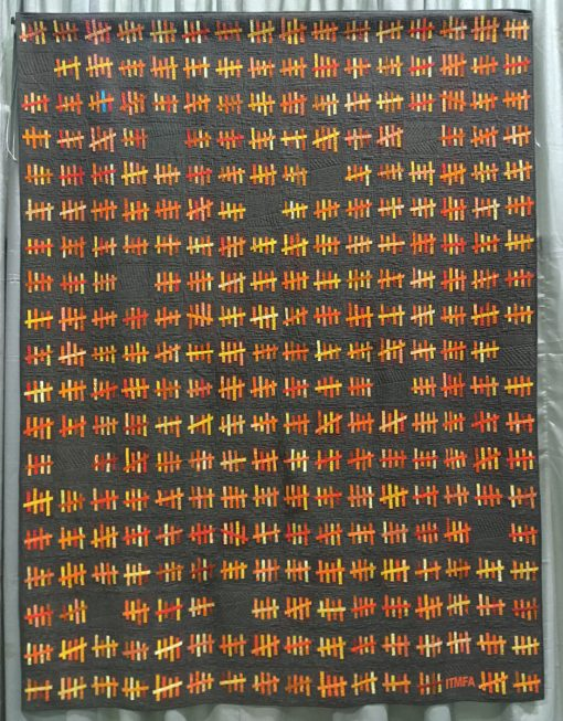 """Modern quilt featured at QuiltCon 2019 — """"This Is What Four Years Looks Like."""" by Scott Lunt @starfireduluth Statement: """"After the 2016 election I was moved to see what four years would look like in days. I settled on the tally mark symbol to represent this. The empty blocks represent a breather in the daily news cycle. The blue hash mark represents that special day."""""""