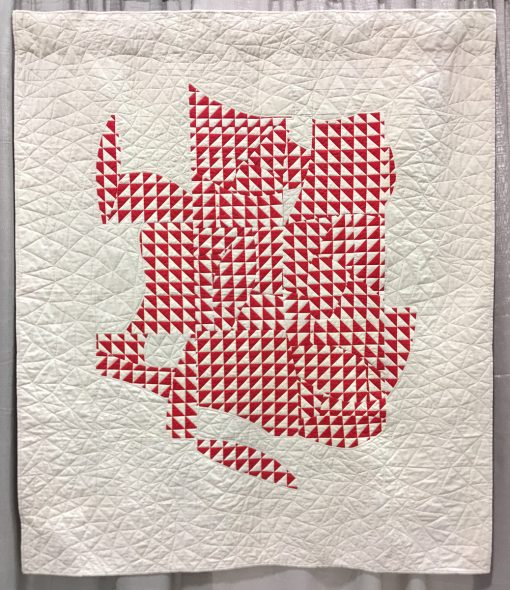 "Modern quilt featured at QuiltCon 2019 — ""The Steadfast HST"" by Cheryl Smallwood @cherylsmallwood Statement: ""Inspired by the extensive collection of quilts in the book, Red and White Quilts: Infinite Variety, I was drawn to make a red and white quilt of my own, using improv curved piecing."""