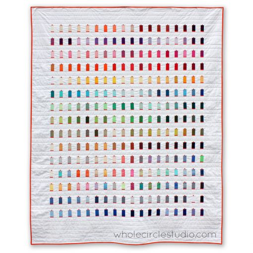 270 Colors, a modern quilt designed and created for Italian thread company, Aurifil, to commemorate and celebrate their tenth anniversary in the United States. The quilt features all 270 current colors of Aurifil's 50wt thread. Designed and made by Sheri Cifaldi-Morrill of wholecirclestudio.com
