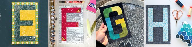 Modern alphabet quilt blocks made by quilters. Check out the Typecast of Characters blog hop!