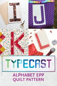 "Quilt blocks made by Kim Soper (Leland Ave Studios), Yvonne Fuchs (Quilting Jetgirl), Karen OConnor (Lady K Quilts) and Kristy Daum (St. Louis Folk Victorian). Made with Typecast, an English Paper Piecing (EPP) Pattern Make all 26 letters of the alphabet. Each block measures approximately 6"" x 9"". This fully tested pattern guide contains detailed instructions, tips and diagrams to walk quilters through the variety of EPP straight line and curved piecing skills they will use while making Typecast blocks. Required English Paper Pieces and optional acrylic templates not included. Pattern by Whole Circle Studio"