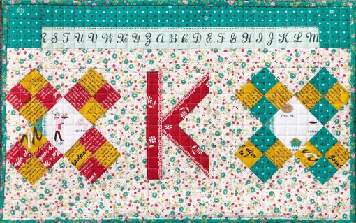 Letter K English Paper Piecing EPP Alphabet cute shabby chic quilted pillow made by Karen OConnor, Lady K Quilts, using Typecast EPP pattern.
