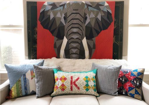 Letter K English Paper Piecing EPP Alphabet cute shabby chic quilted pillow made by Karen OConnor, Lady K Quilts, using Typecast EPP pattern with Elephant Quilt, pattern by Violet Craft overlooking.