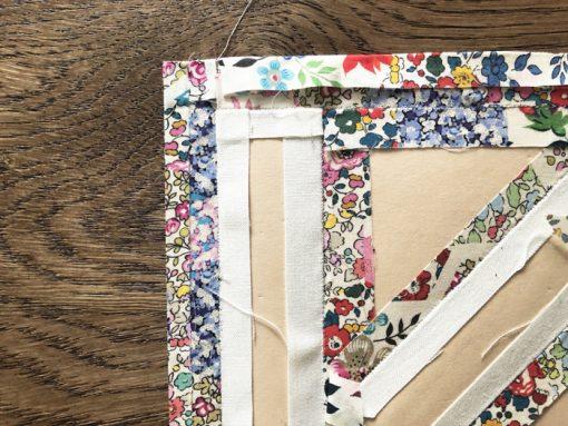 Letter N English Paper Piecing EPP Alphabet modern quilted block as framed art made by Nicole Daksiewicz (Modern Handcraft), using Typecast EPP pattern.