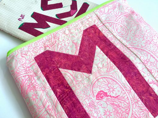 Letter M English Paper Piecing EPP Alphabet modern quilted pouch made by Molli Sparkles, using Typecast EPP pattern.