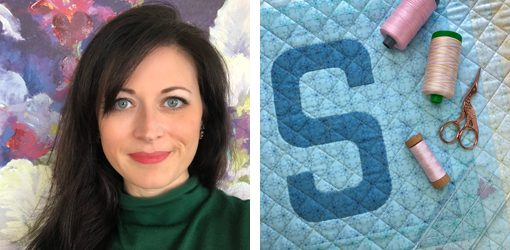 Letter S English Paper Piecing EPP Alphabet modern quilted block pillow made by Sarah Thomas (Sariditty) using Typecast EPP pattern.