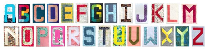 Make all 26 letters of the alphabet with English Paper Pieced (EPP) quilt blocks. using Typecast— a pattern by Whole Circle Studio