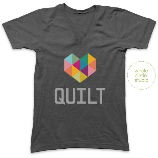 Typecast Heart Quilt tshirt designed by Whole Circle Studio, available exclusively through Patchwork Threads.