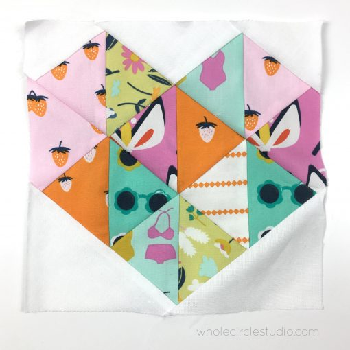 Love at First Sight detailed block, an easy. beginner friendly foundation paper pieced block by Whole Circle Studio.