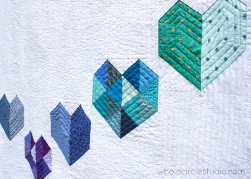 detail of Love at First Sight, an easy foundation paper piecing quilt pattern. Scrap friendly! Pattern available at www.wholecirclestudio.com