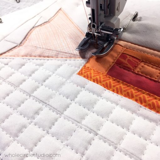 Quilting with my walking foot on my Janome Memory Craft 6700P, Shoreline Sweets, quilt blocks inspired by salt water taffy candy. Designed and pattern available at wholecirclestudio.com