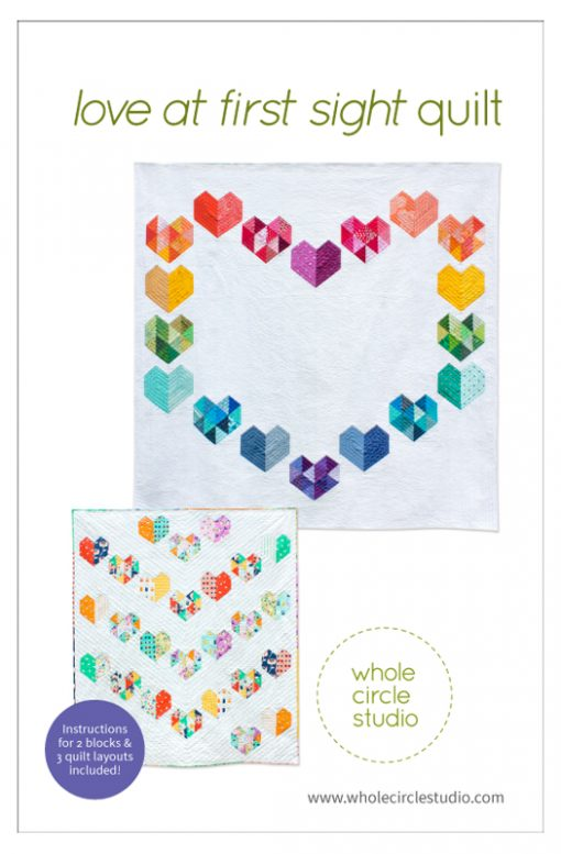 Love at First Sight is an easy, beginner-friendly foundation paper piecing quilt pattern and makes the perfect wedding, engagement, anniversary or friendship gift. It's also super sweet for a baby or kid. Included in the pattern are instructions for two types of heart blocks—basic and details along with fabric requirements and instructions to arrange the blocks into 3 layouts—a wall quilt or two types of throw quilts. Make it your own by swapping out fabric or rearranging the blocks. Love at First Sight is the perfect quilt to make with your favorite Fat Quarter bundle or use what you have in your fabric stash to make a rainbow or scrappy version!